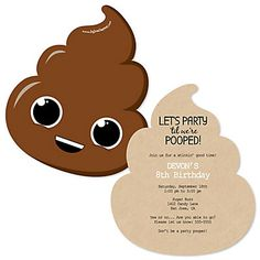 Party 'Til You're Pooped - Shaped Poop Emoji Birthday Party Invitations - Set of 12 - Spiel Childrens Party Games, Tween Party Games, Bridal Party Games, Engagement Party Games, Dinner Party Games, Party Emoji, First Birthday Themes, 10th Birthday Parties, Birthday Ideas