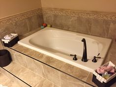 Master Bathroom Remodel Featuring Porcelain Tile With Oil Rubbed Bronze  Trim, A Travertine Mosaic And Chair Rail, With New Vanity, Granite,  Fixtures And A ...