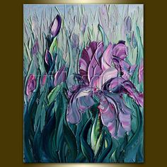 Iris Irises Modern Flower Canvas Oil Painting Textured Palette Knife Contemporary Original Art 12X16 by Willson Lau