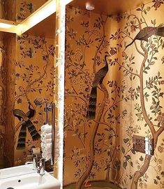 Small room, big deal: An inside look into London's best bathrooms Guest Toilet, Bathroom Inspo, Amazing Bathrooms, Curtains, Wallpaper, Big, Interior, Club, Google Search