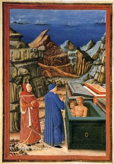 Inferno's, Canto X: Farinata e Cavalcante. Italian and english. Guglielmo Giraldi, 1480-82.