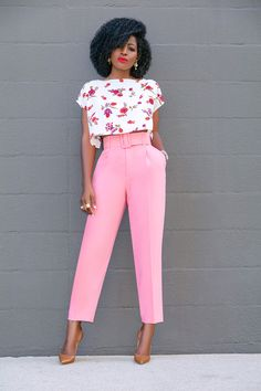 Style Pantry | Floral Crop Top + Belted Pegged Trousers