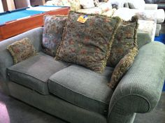 Loveseat Sofa - $150 This sofa is in great condition and made out of corduroy fabric. It also comes with 3 large cushions and 2 small ones. This awesome sea-foam green sofa could be your today.