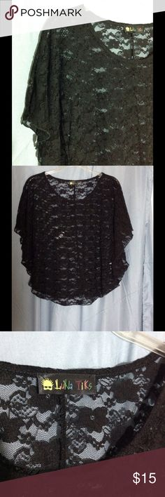 Cute Black lace sheer blouse Would look great over a cami in order to dress it up.  Blouse looks almost like it was made from a circle of fabric.  Very cute.  Made in the USA.  Machine washable.  Luna Tiks brand. Luna Tiks Tops Blouses