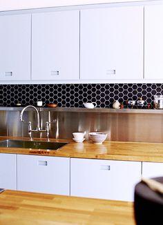 Black Octagonal Mosiac Wall Tile w/ White Grout - Oui Oui  Ambrose Cement Tile