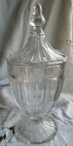 Early 1900's Heisey Etched Flower Clear Glass Candy Dish With Lid