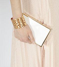 Womens Gold Cutwork Cuff - Reiss Emme