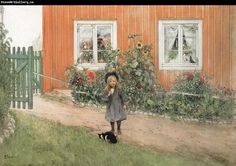 Carl Larsson - Brita, a Cat and a Sandwich aka Brita With Sunflowers