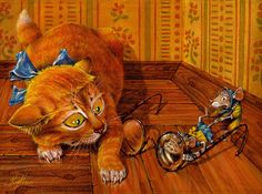 "The graphic series ""Cat & Mouse"". paper, watercolor, pencil. 20x30 Picture  (2d, illustration, mouse, cat, cartoon)"