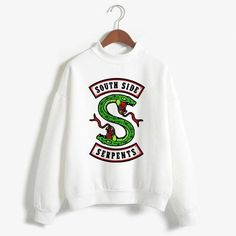 Fashion Riverdale Women Hoodies Sweatshirts Plus Size South Side Serpents Printed Hip Hop Streetwear Tops Unisex Pullover Shirt Hoodie Sweatshirts, Printed Sweatshirts, Riverdale Merch, Riverdale Fashion, Totoro, Pull, Dragon Ball, Stranger Things, Hip Hop