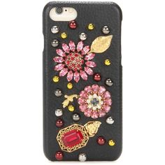 Dolce & Gabbana Embellished Leather iPhone 7 Case ($840) ❤ liked on Polyvore featuring accessories, tech accessories, black and wallets & cases