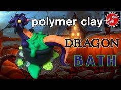 Polymer Clay Dragon | Halloween Craft | Halloween Diorama | Cauldron Bath - YouTube #halloweencrafts