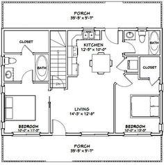 House — — 812 sq ft – Excellent Floor Plans - Build Container Home Cabin Plans With Loft, Loft Floor Plans, House Plan With Loft, Basement Floor Plans, Barndominium Floor Plans, Small House Floor Plans, Cottage Floor Plans, House Plans One Story, Barn House Plans