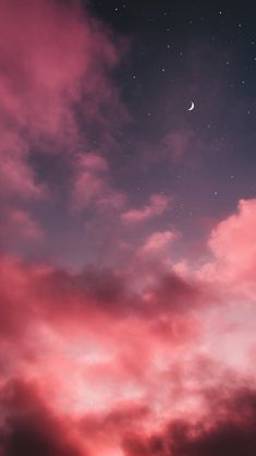Find images and videos about sky, wallpaper and night on We Heart It - the app to get lost in what you love. Pink Clouds Wallpaper, Night Sky Wallpaper, Sunset Wallpaper, Iphone Wallpaper Sky, Cute Wallpaper Backgrounds, Tumblr Wallpaper, Pretty Wallpapers, Aesthetic Pastel Wallpaper, Aesthetic Backgrounds