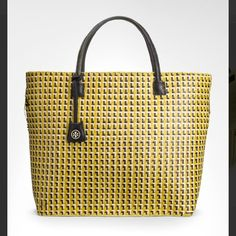 Coming Soon  Large Yellow Straw and Leather Tote Large yellow straw tote perfect for the beach in excellent condition! Minor wear around top of bag where straw is worn and frayed in spots. Leather handles. Coming soon! Tory Burch Bags Totes