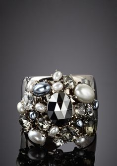 I have the ring version of this. Tres Chic!  Metallic Cluster Pearl Cuff // Kenneth Jay Lane