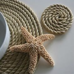 Nautical Rope Placemats & Coasters Natural and Nautical. These rope place mats are a fun natural table setting with . Lantern Centerpieces, Driftwood Centerpiece, Beach House Decor, Home Decor, Beach Condo, Coastal Style, Coastal Living, Tropical Style, Coastal Decor