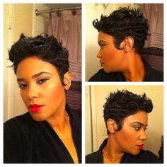 #pixiecut#blackhairstyle#redlips#facebeat