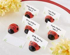 First Avenue Wedding Favors - Ladybug Place Card/Photo Holder (Set of 6), $14.70, always volume discounts!(http://www.firstavenueweddingfavors.com/ladybug-place-card-photo-holder-set-of-6/)
