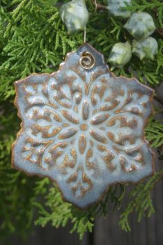 Porcelain Snowflake Ornament by moonflowerartjewelry on Etsy, $8.00