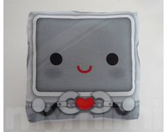 Decorative Pillow, Robot Heart, Robot Pillow, Throw Pillow, Kawaii Robot, Cushion, Kids Bedroom, Boys Room Decor, Childrens Toys, 7 x 7""