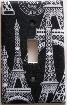 Black White Paris Eiffel Tower light switch cover girls bedroom Bath wall decor