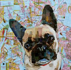 "French Bulldog. Collage on Canvas. 20 x 20"" 2014 mydogcollage.com"
