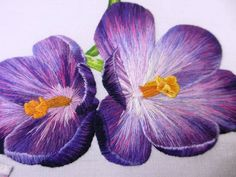 Beautiful work!.....Crocus....Royal School of Needlework, London