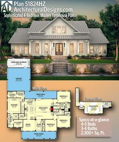Architectural Designs Modern Farmhouse Plan is square feet w/ large bedrooms and 3 – 4 baths PLUS an optionally finished bonus. A symmetrical front with board & batten gives it grea 4 Bedroom House Plans, Family House Plans, New House Plans, Dream House Plans, Dream Houses, Square House Plans, Plans For Houses, New Houses, 2200 Sq Ft House Plans