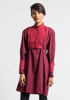 Sacai Classic Shirting Tunic Dress in Bordeaux