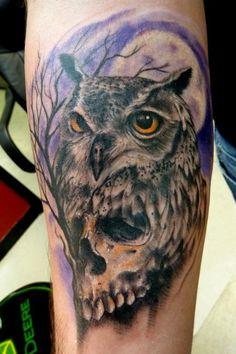 Owlskull by Mully : Tattoos Owl Skull Tattoos, Clock Tattoos, Skeleton Tattoos, Owl Tattoo Design, Tattoo Designs, Owl Skeleton, Totenkopf Tattoos, Wise Owl, Flash Art