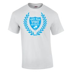 Proudly display your school's crest on this classic cotton short sleeve T-shirt.  Choose white, gray, or navy.