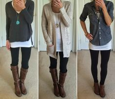 Outstanding Outfit With Leggings And Boots: Astonishing Outfit With Black Leggings Plus Cognac And Brown Bootsts ~ rastaclotheskauai.com Trendy Clothes Inspiration