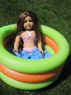 American Girl Doll swimming pool with fake water on etsy. Perfect for the summer. Furniture, outdoor play, american girl accessory, pool, water fun