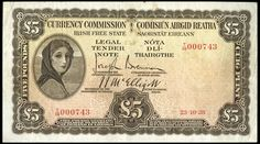 Currency Commission, Five Pounds, 23 October 1928, T/09 000743, Brennan-McElligott signatures (LTN 3; Pick 3A). Pinholes, otherwise good fine to about very fine