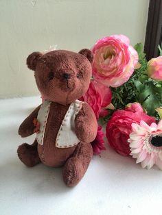 OOAK Teddy Bear  Miniature brown teddy bear in a waistcoat Artist teddy Toys handmade