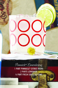 PINNACLE® LIMONLICIOUS 1 part Pinnacle® Citrus Vodka  2 parts Lemonade 1⁄2 part Fresh Squeezed Lime  Garnish recommendation: Lemon Wedge Mix in a glass filled with ice and garnish with a lemon wedge. #PinnacleVodka