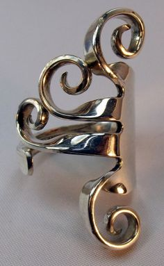 Wallace Sterling Fork Ring Waves design by CoolerJewelers on Etsy, $140.00
