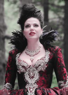 Lana Parrilla as Regina in wine & silver brocade gown in Once Upon A Time.