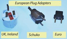 European plug adapters, for Britain, Ireland, the Continent, Italy, and Switzerland.