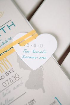 "turquoise and yellow with ""heart on a string"" tie custom wedding invitation by LittleMissMrs"