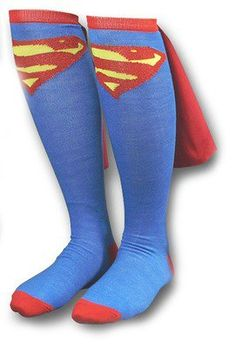 DC Comics SUPERMAN Logo Licensed Knee High Socks with Cape for only $5.99