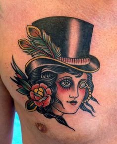 tattoo old school / traditional nautic ink - doll face / hat pinup (by Paul Dobleman)