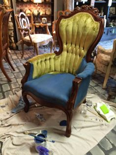 Aubusson Blue Chalk Paint® by Annie Sloan on a velvet chair | By Maison Decor of Reading, MA