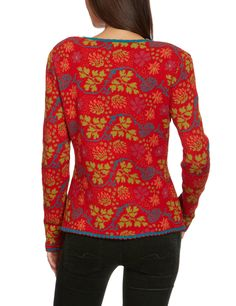 LANA natural wear Damen Strickjacke, geblümt 122 2007 2206 / Jacke Katinka, Gr. 38 (S), Rot (Katinka feuer): Amazon.de: Bekleidung