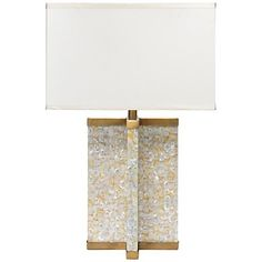 Axis Mother of Pearl Veneer Brass Table Lamp   Jamie Young