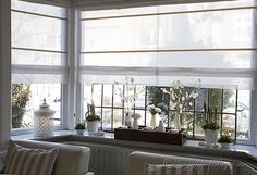How to make double layered roman blinds on a single hardware mount. It works wonders as a beautiful window covering for a bay window. Bay Window Living Room, Bedroom Windows, Living Room Decor, Living Rooms, Bay Windows, Bedroom Decor, Window Ledge Decor, Window Decorating, Decorating Ideas