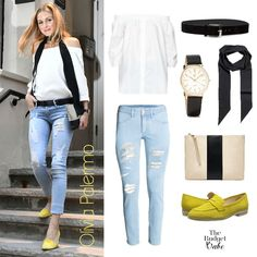 Mellow Yellow: Olivia Palermo's Distressed Denim and Bright Flats Look for Less - The Budget Babe   Affordable Fashion & Style Blog