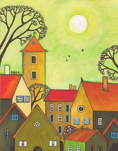 Easter Tyme In German Town Print By Margaryta Yermolayeva