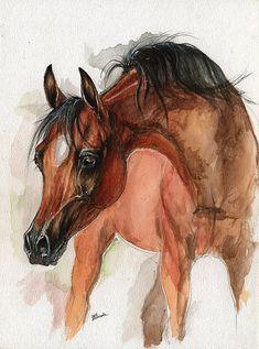Bay Arabian foal watercolor painting, custom horse portrait - Approximately $133.06 USD